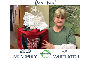 The Parkersburg Chamber of Commerce's 2019 Monopoly Winner, Pat Whitlatch!